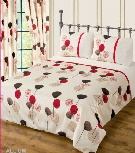 RED WINE CREAM COLOUR BEDDING DUVET COVER SET STYLISH POPPY FLORAL MODERN DESIGN